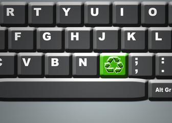 Teclado, ordenador, símbolo, reciclaje, tecla verde