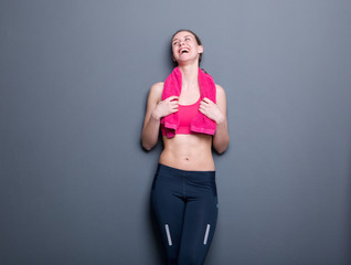 Young gym woman laughing