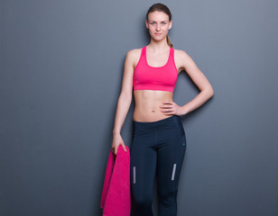 Confident slim athletic woman