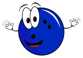 Happy cartoon bowling ball character