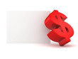 big red dollar symbol with white info text banner