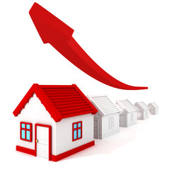 real estate price graph grow up arrow. business concept