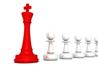 Leadership concept red chess king of pawn team on white backgrou