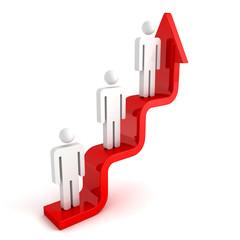 3d people on concept career ladder arrow steps. business achivem