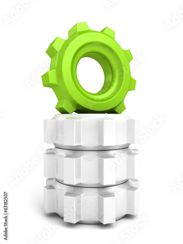 green cog wheel gear leader on top stack others