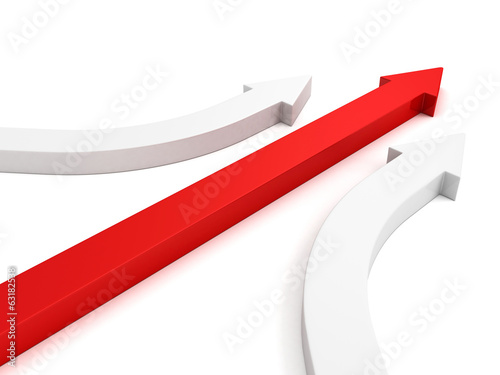 Achivement business leadership concept red arrow