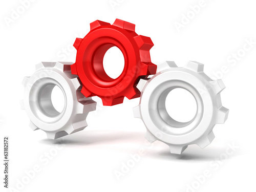 Three gears on white background