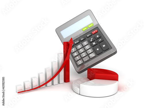 office calculator and business successful finance grow charts