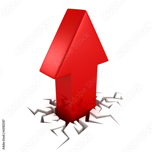 red arrow from crack hole on white background. success concept
