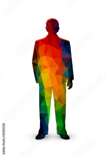 silhouette of the businessman from color polygons