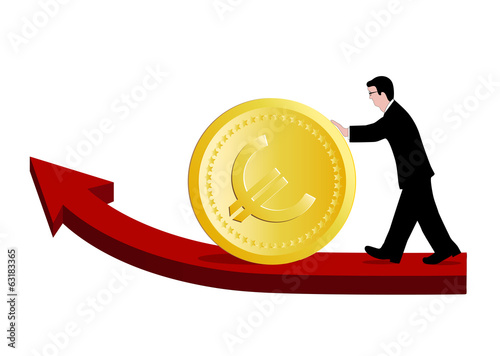 businessman pushing money on a white background