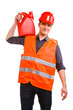 Man worker in safety vest and hard hat with canisters