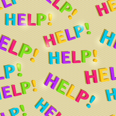Hand Writing Help Word Seamless Pattern