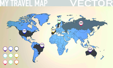 Travel map with pointers