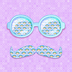 Colorful Glasses and Mustaches with Cloud Pattern