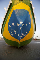 Brazilian Flag Fishing Boat on Brazil Beach