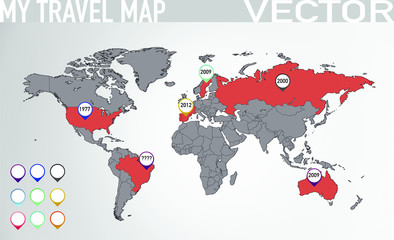 Travel map with pointers 3