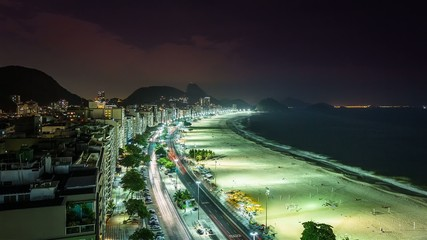 Copacabana Beach street traffic at night Time Lapse