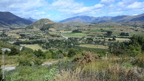 Landscape of Kawaru River valley in Otago, New Zealand.