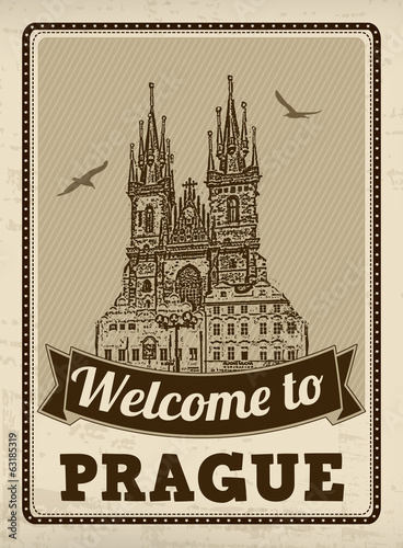 Welcome to Prague retro poster