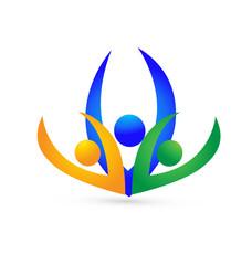 Swooshes teamwork business logo vector