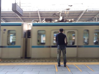 Someone waiting train at tokyo subway