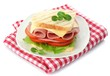 Tasty sandwich with ham, isolated on white