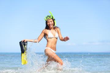 Vacation beach woman happy fun snorkeling