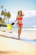 Beach woman snorkeling happy lifestyle