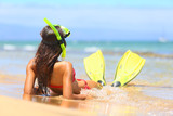 Fototapety Relaxing woman on summer beach vacation holidays