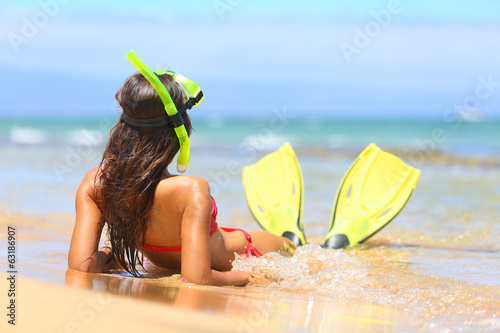 Relaxing woman on summer beach vacation holidays