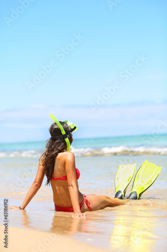 Woman relaxing on summer beach vacation holidays