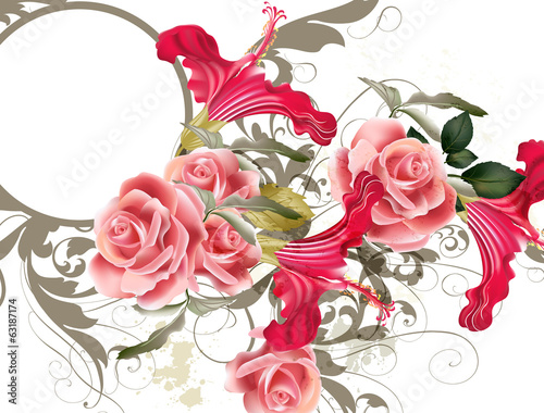 Fashion vector  pattern with flowers