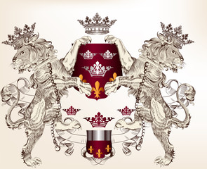Heraldic design with lions holding shield  for design