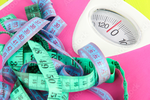Measuring tape and scales close-up