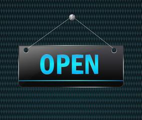 open hanging sign - Vector signboard