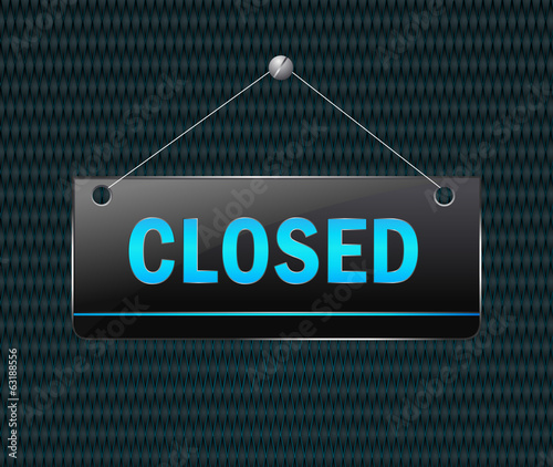closed hanging sign - Vector signboard