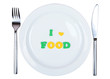canvas print picture - Plate with inscription i love food isolated on white