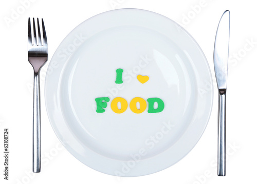 canvas print picture Plate with inscription i love food isolated on white