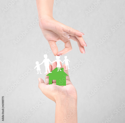paper family in the hand