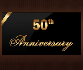 50 years Decorative anniversary golden label with ribbon
