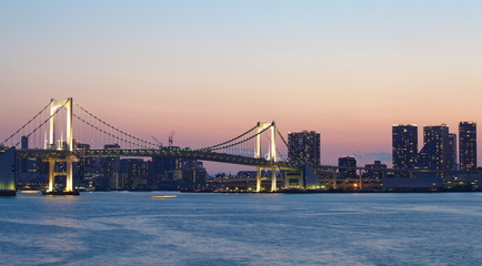 view of tokyo bay with rainbow bridge at sunset time