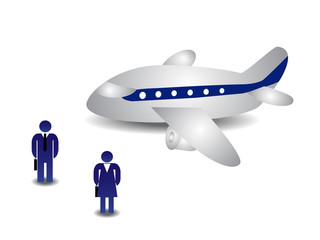 Business people and plane