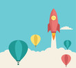 Rocket launching over the hot air balloon. Vector - 63190901