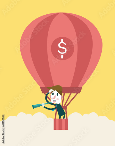 Businessman in a hot air balloon looking with a telescope.