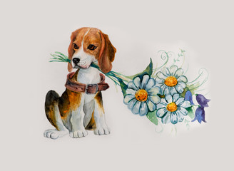 Beagle with flowers.