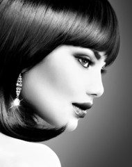 Beautiful Brunette Woman. Bob Haircut. B&W Portrait