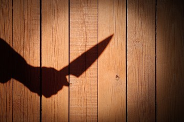 Male Hand Shadow with Kitchen Knife, on wooden background, XXXL