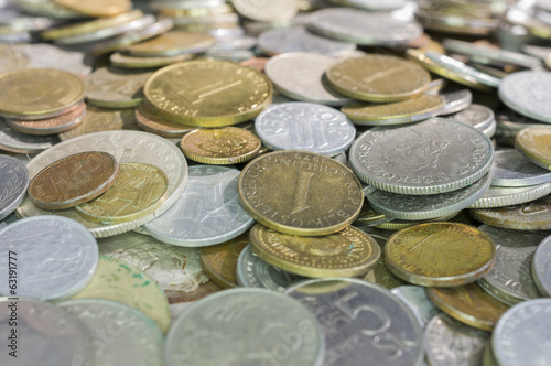 Heap Of Mixed Coins Money.
