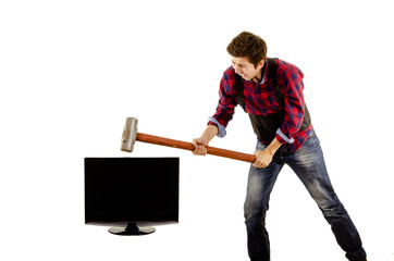 man with sledgehammer breaking a tv lcd